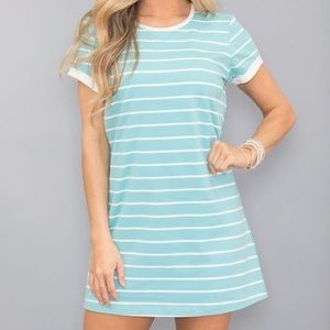 1e042767b4d6 Pink Lily Boutique Dresses - Turquoise Striped T-shirt Dress